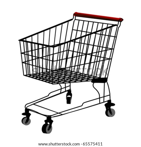 Shopping trolley silhouette, isolatd object over white background