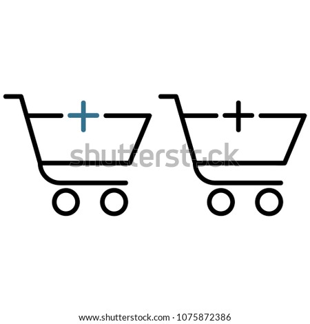 Shopping trolley with a plus icon, isolated on white background