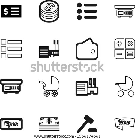 shopping vector icon set such as: open, receipt, corner, pile, wealth, wallet, badge, bill, digital, investment, lawyer, calculator, math, technology, innocence, act, card, courthouse, bills, justice