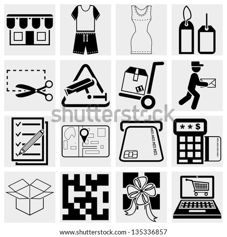 Shopping vector icons set.