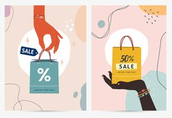 Shopping vector set of advertisement posters, Female hands hold colorful bags for shopping or gifts. Sales sign. Different percentages. Illustrations for a poster, banner, or postcard.