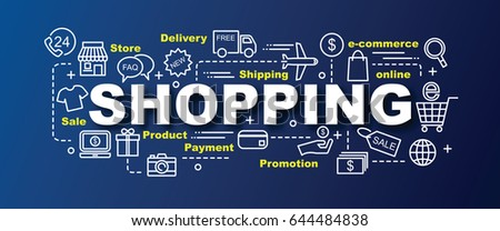 shopping vector trendy banner design concept, modern style with thin line art shopping icons on gradient colors background