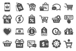 Shopping wallet icons. Gift, Present and Sale offer signs. Shopping cart, Delivery gift and Tags symbols. Speech bubble, Discount, sale and wallet. Online buying. Surprise present. Quality set. Vector
