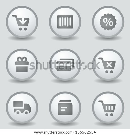 Shopping web icons, grey circle buttons