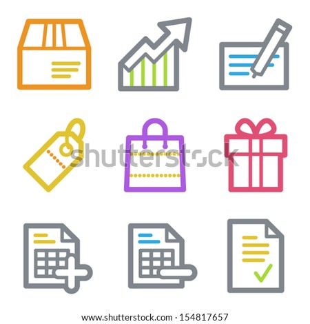 Shopping web icons set 1, color line contour series - stock vector