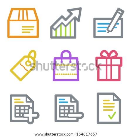 Shopping web icons set 1, color line contour series