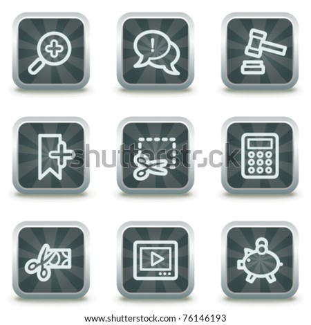 Shopping web icons set 3, grey square buttons