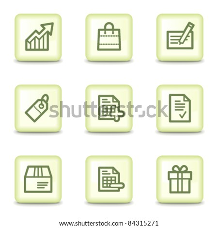 Shopping  web icons set 1, salad green buttons