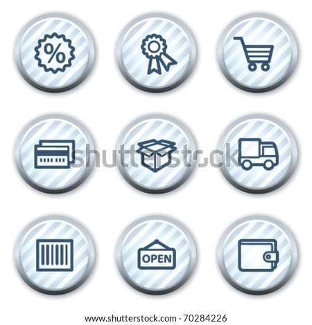 Shopping web icons set 2, stripped light blue circle buttons