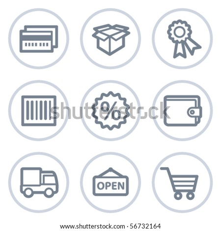 Shopping web icons set 2, white circle series