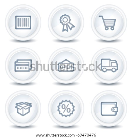 Shopping web icons set 2, white glossy circle buttons