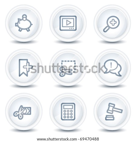 Shopping web icons set 3, white glossy circle buttons