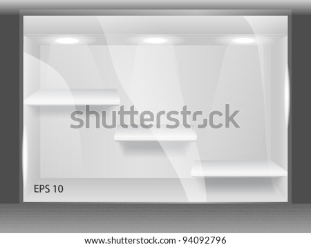 Shopping window with shelves on the street - stock vector