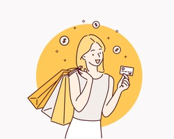 Shopping with credit card. Hand drawn style vector design illustrations.