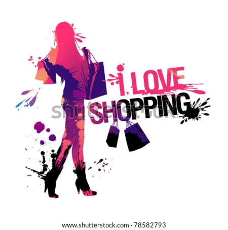 Shopping woman silhouette. I love shopping, vector illustration with splashes. - stock vector