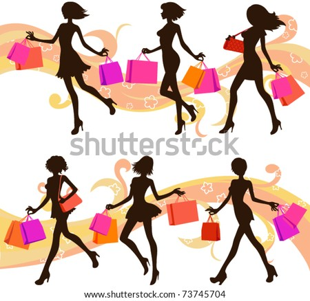 Shopping woman silhouettes