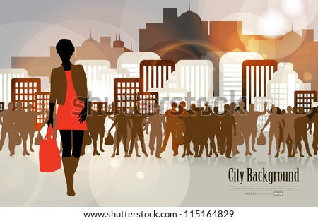 Shopping woman with city in background - stock vector
