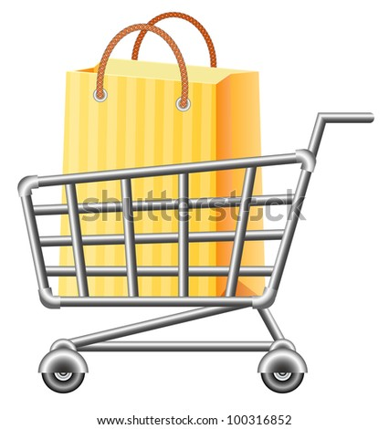 shoppingcart and shopping bag; vector illustration; isolated