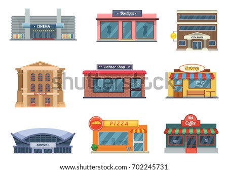 Shops and municipal buildings, mini stores and others. Vector pictures in cartoon style isolate on white. Cinema and barber shop bakery and coffee, pizza and airport illustration