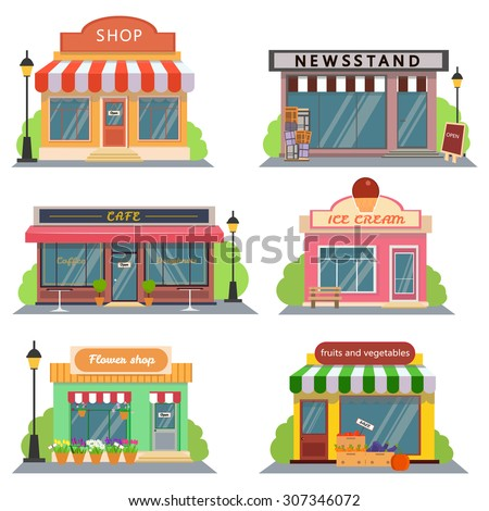 Shutterstock Shops and stores icons set in flat design style. shop, newspaper shop, coffee shop, ice cream shop, flower shop, vegetable and fruit store. Vector illustration
