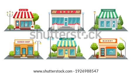 Shops fronts on street. Shopping retail facades, bistroshop and barber boutique, bakery and pet store with sidewalk cartoon vector illustration, neighborhood store exteriors