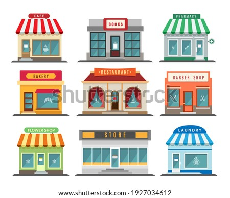 Shops stores exteriors. Laundry and restaurant, pharmacy and bistro cafe, store and shop retail street business buildings fronts isolated on white background