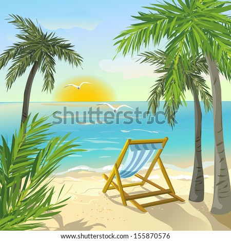 shore with palm trees and