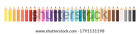 Short colored pencil illustration set. Cute colored pencils. 32 colored pencils. Vector rainbow pencil collection. Set of vector coloured pencils on white background. Back to school material.