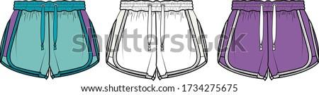 SHORT, Fashion Flat Sketch, apparel template Сток-фото ©
