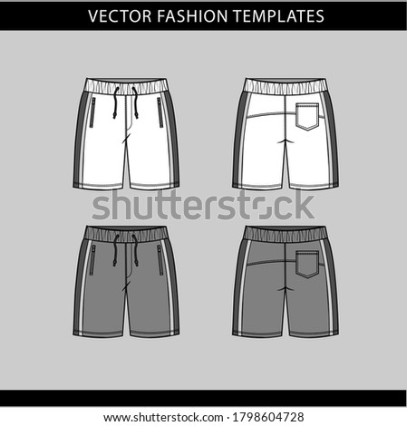 short fashion flat sketch template, Bermuda Shorts Template, Vector Illustration of pant, Men's fashion shorts front and back view Сток-фото ©