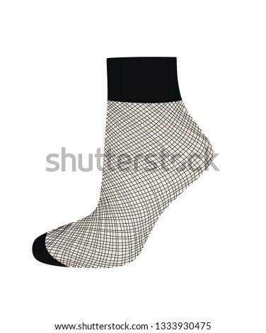 short fishnet socks vector