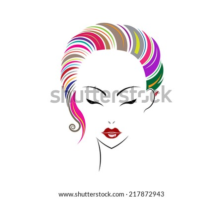 Short hair style icon logo women face on white background