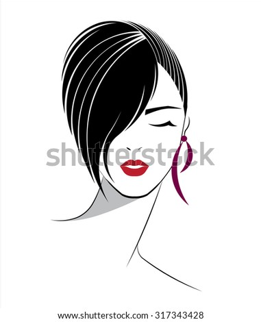 short hair style icon  logo
