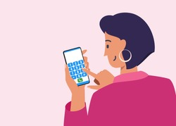 Short Haired Young Woman Typing Contact Dial Number to Make a Phone Call. Female Character Flat Vector Cartoon Design. Hand Tapping numeral Button in Smartphone. Telecommunication Technology Concept.