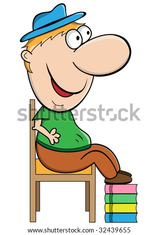 stock-vector-short-man-cartoon-character-sitting-on-a-chair-with-his-feet-on-a-pile-of-books-raster-also-32439655.jpg
