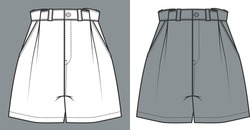 Short Pants, Flat Sketch Template, vector