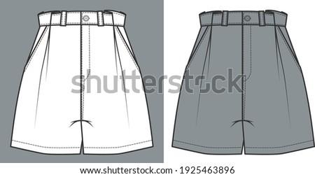 Short Pants, Flat Sketch Template, vector Stockfoto ©
