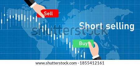 short selling stock in stocks market sell high buy low trading strategy candle stick graph chart Сток-фото ©