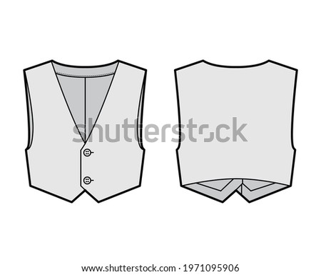 Short vest waistcoat technical fashion illustration with sleeveless, cropped length, V-neckline, button-up closure. Flat apparel template front, back, grey color style. Women, men, unisex CAD mockup Stock photo ©
