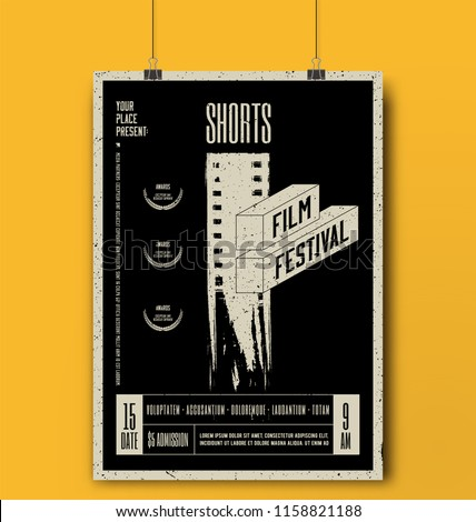 Shorts Film Festival Template. Movie Poster Mockup. Vector illustration.