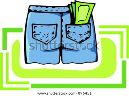 Shorts with money in the back pocket.Vector illustration - stock vector