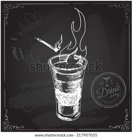 shot glass with fire hand