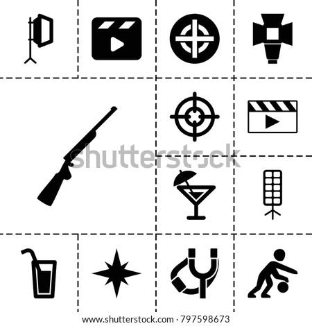 shot icons set of 13 editable