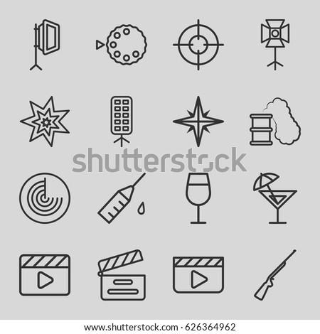 shot icons set set of 16 shot