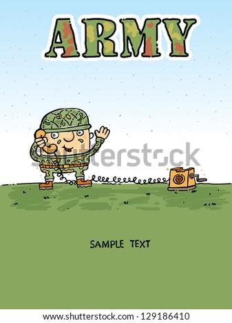 Shot of a soldier talking by radio station. Vectors illustration.