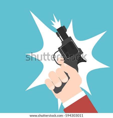 shot of a starting pistol. flat vector illustration