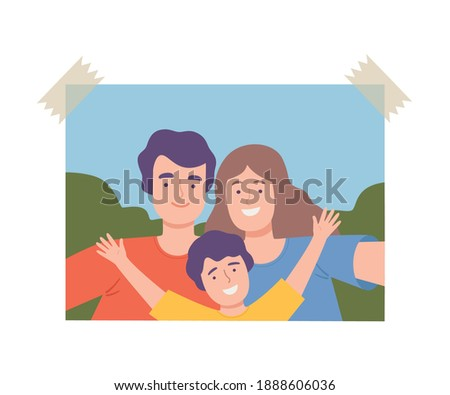 Shot of Happy Family Making Selfie Using Smartphone, Father, Mother and Son Spending Time Together and Photographing Cartoon Vector Illustration Сток-фото ©