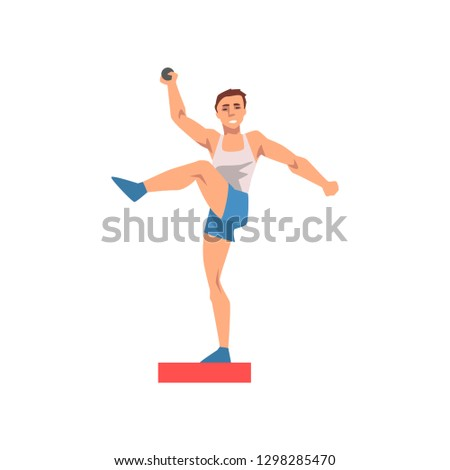 Shot Putter Male Athlete Character in Sports Uniform, Active Sport Healthy Lifestyle Vector Illustration