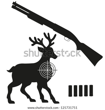 shotgun and aim on a deer black silhouette vector illustration isolated on white background