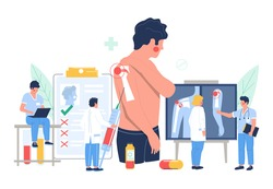 Shoulder arthritis. Patient suffering from joint pain, flat vector illustration. Tiny doctor characters holding syringe with injection, looking at xray pictures in clinic. Osteoarthritis joint disease